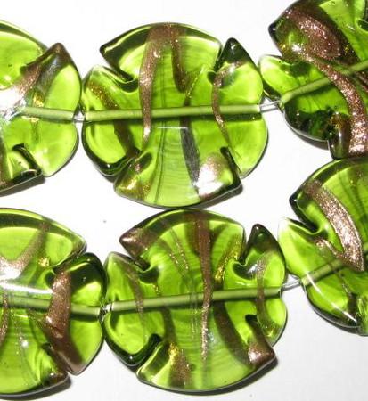 fine handmade Czech lamp Bohemian lime green aventurine glass bead