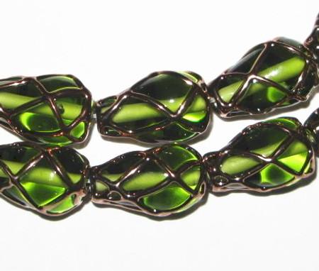 vintage Czech lampwork gold pineapple decor glass beads