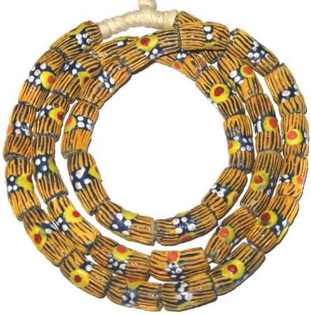 A strand of African fancy Krobo Powderglass beads