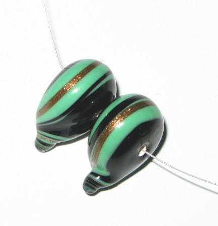 fine European blue black lampwork Bohemian Green/Black glass beads