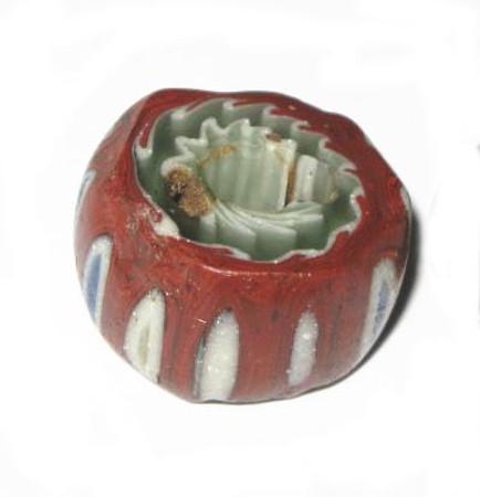 antique old Venetian 9 layer Chevron glass trade bead