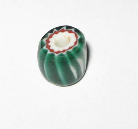 antique old Venetian 4 layer green Chevron glass trade bead