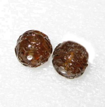 vintage art Czech translucent lampwork amber bumpy glass beads