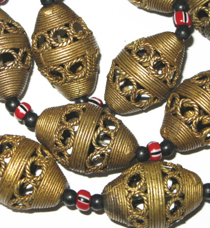 Authentic African mixed handmade brass trade beads