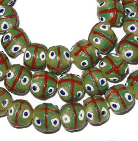A strand of Authentic Handmade African Ghana Krobo beads