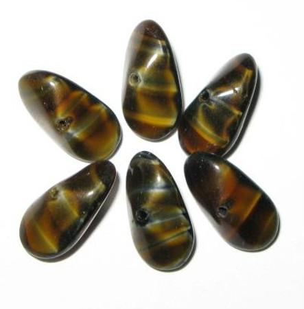 beautiful tortoise brown vintage Czech Bohemian glass trade beads