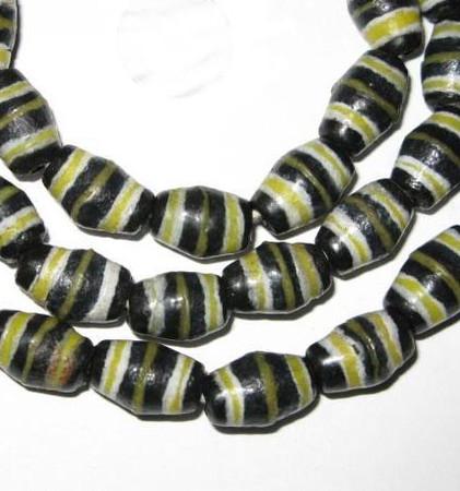 African Ghana krobo bicone handmade glass black/yellow trade beads