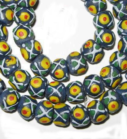 African fancy Krobo handmade Ghana Powderglass beads