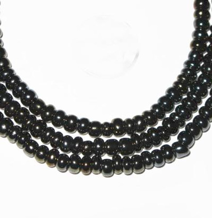 fine matched European black seed glass trade beads [3144]