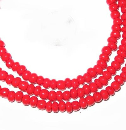 fine red matched European seed glass trade beads