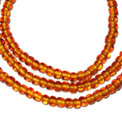 fine matched amber European seed glass trade beads [3138]