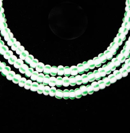 fine matched white green stripe European seed glass trade beads