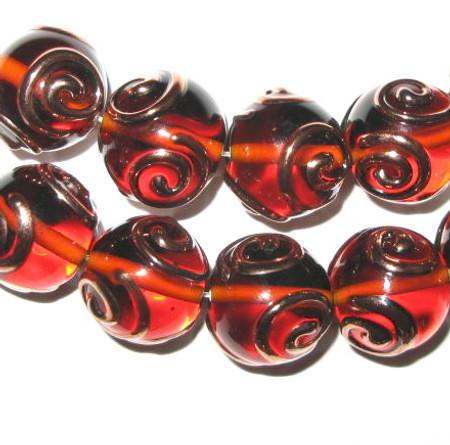 fine Czech handmade glass amber lampwork beads