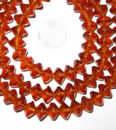 European vaseline Czech Bohemian amber glass beads