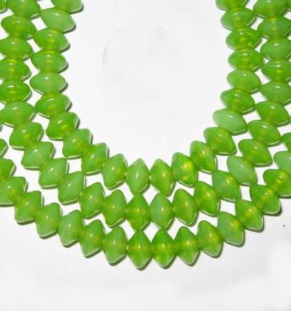 European green  vaseline Czech Bohemian green glass beads