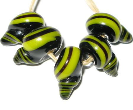 fine European snail lampwork Czech glass beads