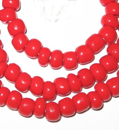 fine vintage Czech Bohemian red disk glass beads
