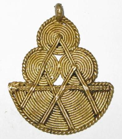 African authentic handmade brass trade pendant-1