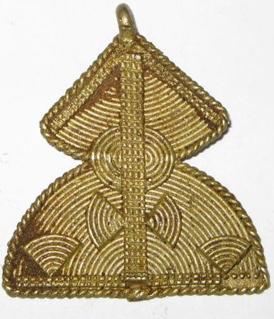 African authentic handmade brass trade pendant-3