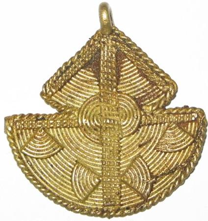 Authentic African handmade brass pendant