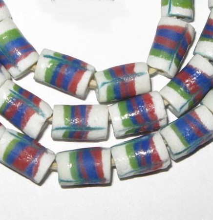 A strand of white, blue and green African feather Krobo Ghana glass beads