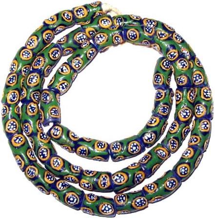 A strand of blue and green African fancy Krobo powderglass trade beads