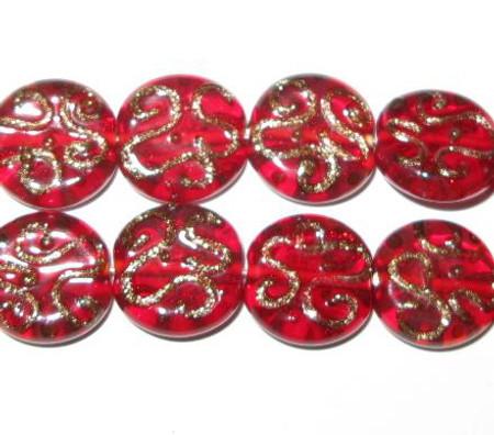 red Czech handmade lampwork glass beads