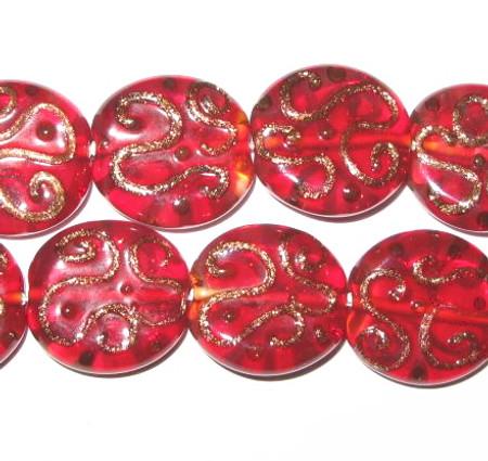 red/gold Czech handmade lampwork glass beads