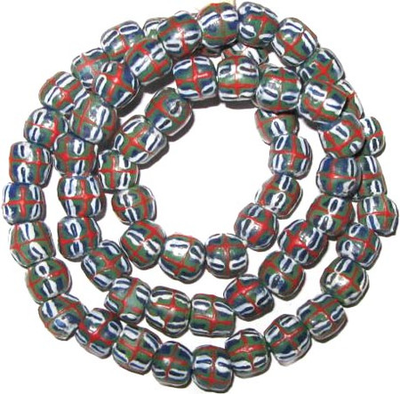 Authentic Handmade red cross green and blue African Ghana Krobo beads