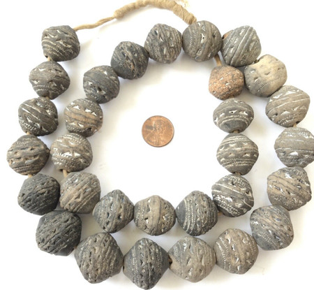 African spindle whorl clay trade beads