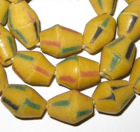 Ghana African krobo yellow bicone handmade glass trade beads