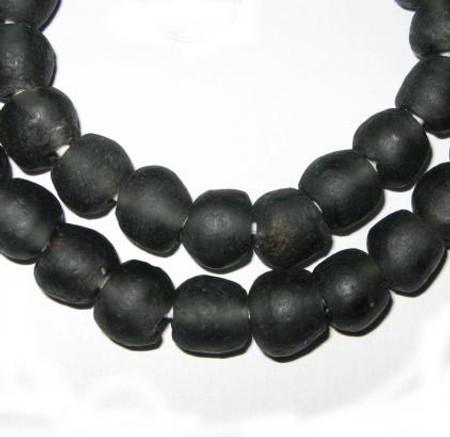 African translucent black Krobo handmade Ghana glass beads