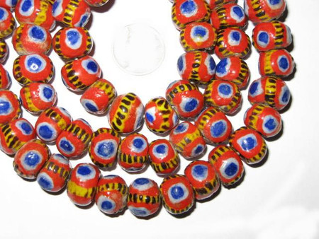 A Strand of Beautiful Orange multi Mauritanian Kiffa African trade beads