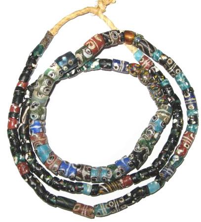Antique mixed African Krobo Powderglass trade beads