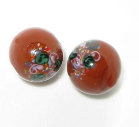 vintage art Czech brown wedding cake glass beads