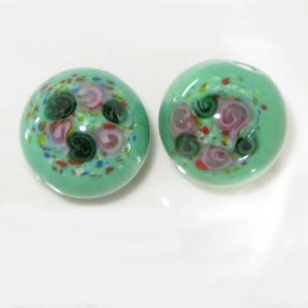 vintage art Czech Green Floral wedding cake glass beads