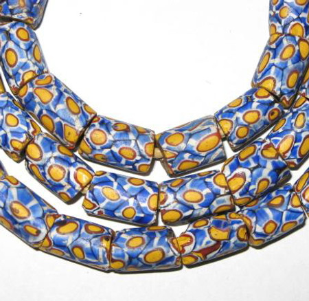 African blue multi Trade Antique Venetian Millefiori Glass Beads