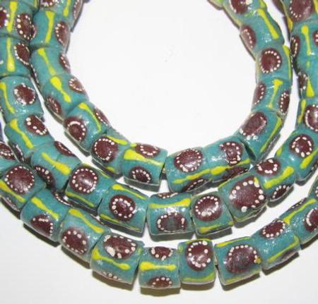 Strand of aqua green African fancy Ghana Krobo recycled glass beads