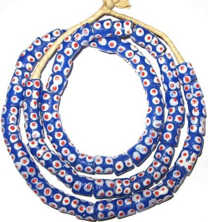 A strand of blue African fancy red eye Krobo Powderglass beads