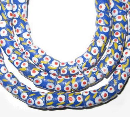 Handmade blue African Ghana Krobo powderglass beads