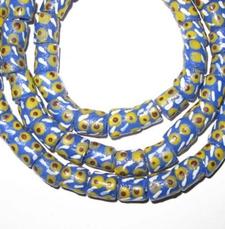 Strand of Blue and yellow dot African fancy Krobo Powderglass beads