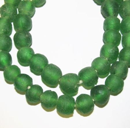 African translucent Krobo handmade Ghana recycled green glass trade beads