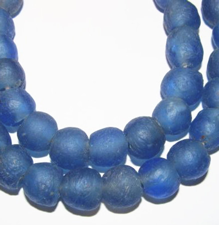 African translucent Krobo handmade Ghana recycled blue glass tr