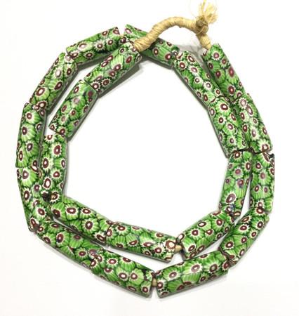 A strand of old Green Chevron Cane Millefiori Venetian trade beads