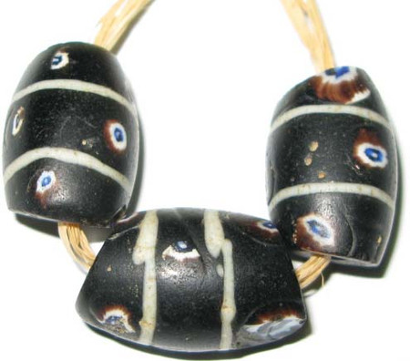 rare old black authentic African eye glass trade beads
