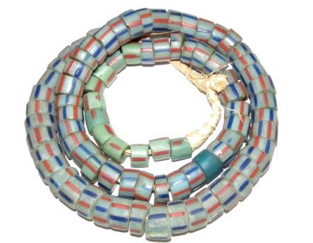 Antique Venetian wound drawn stripe glass trade beads