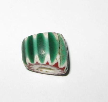 antique old Venetian 5 layer green Chevron glass trade bead