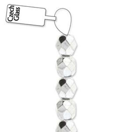 4mm Czech Silver fire Polished Glass beads