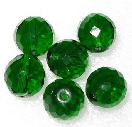 Czech emerald fire polish faceted glass trade beads