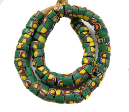 A Strand of green multi Venetian Antique Wound Fancy Glass Trade beads